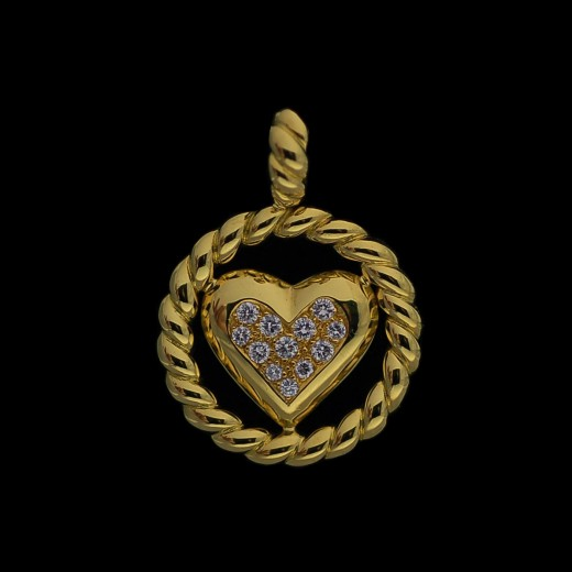 Pendentif Fred Coeur en or et diamants