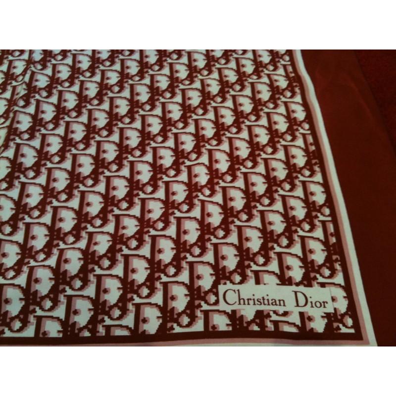 conception adroite à bas prix soldes Foulard Dior logo bordeaux