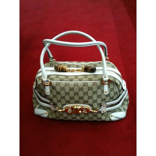 62a2b2234b9c Sac Gucci en tissu et cuir blanc
