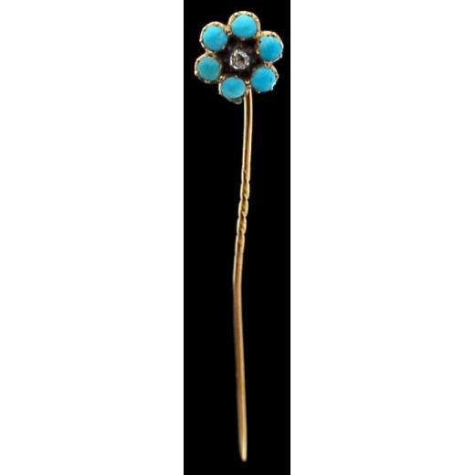 Épingle ancienne fleur en or, émail et diamant