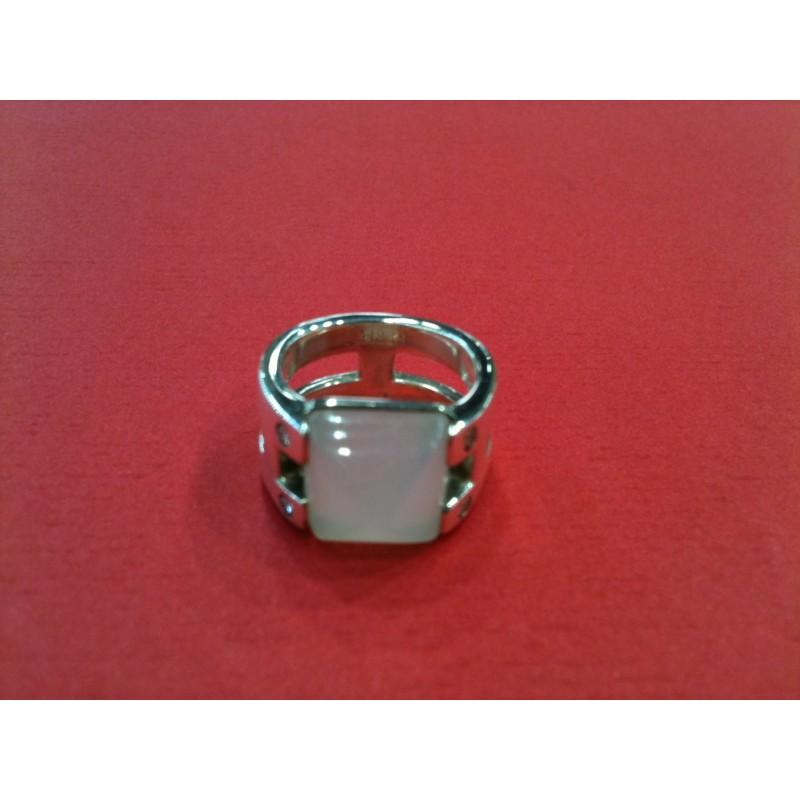 0587d4fed04d Bague Hermès argent, diamants et pierre de lune. Vendu
