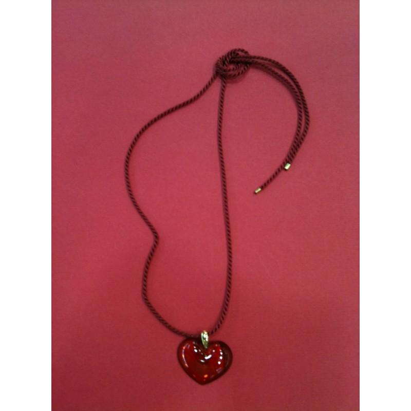 cordon noir bijoux fantaisie Collier coeur cristal de verre pendentif rouge