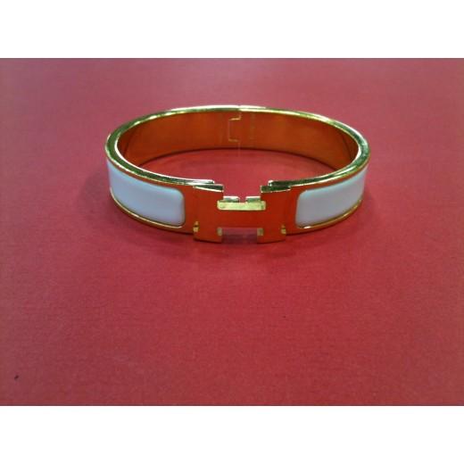 Bracelet Hermès Clic Clac H en émail blanc