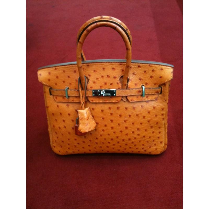 80dafc6c9e Sac Hermès Birkin 25 cm en autruche orange. Vendu