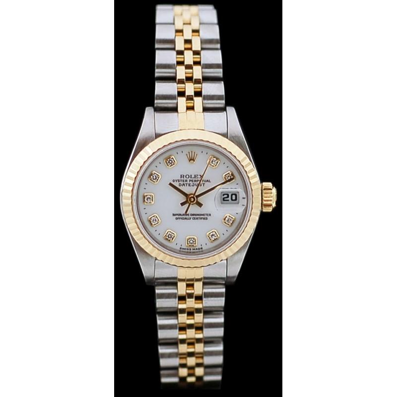 OrAcier En Et Datejust Diamants Montre Lady Rolex wXZ80OnkPN