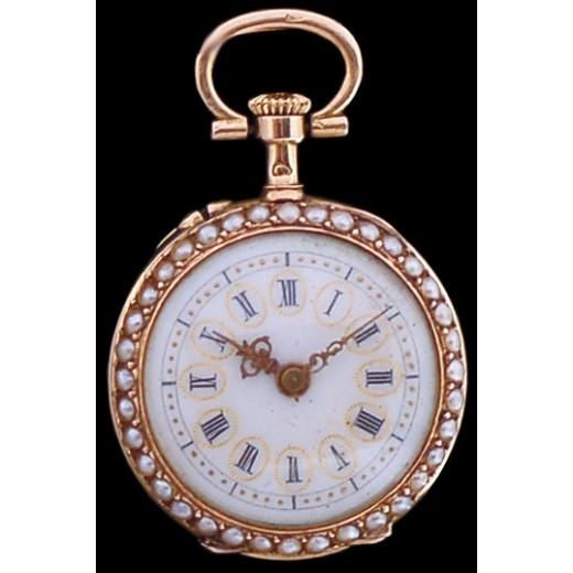 Montre de col ancienne en or, perles et diamant