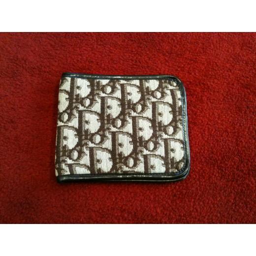 Portefeuille Dior vintage en tissu logo et cuir f3e363d7eb2