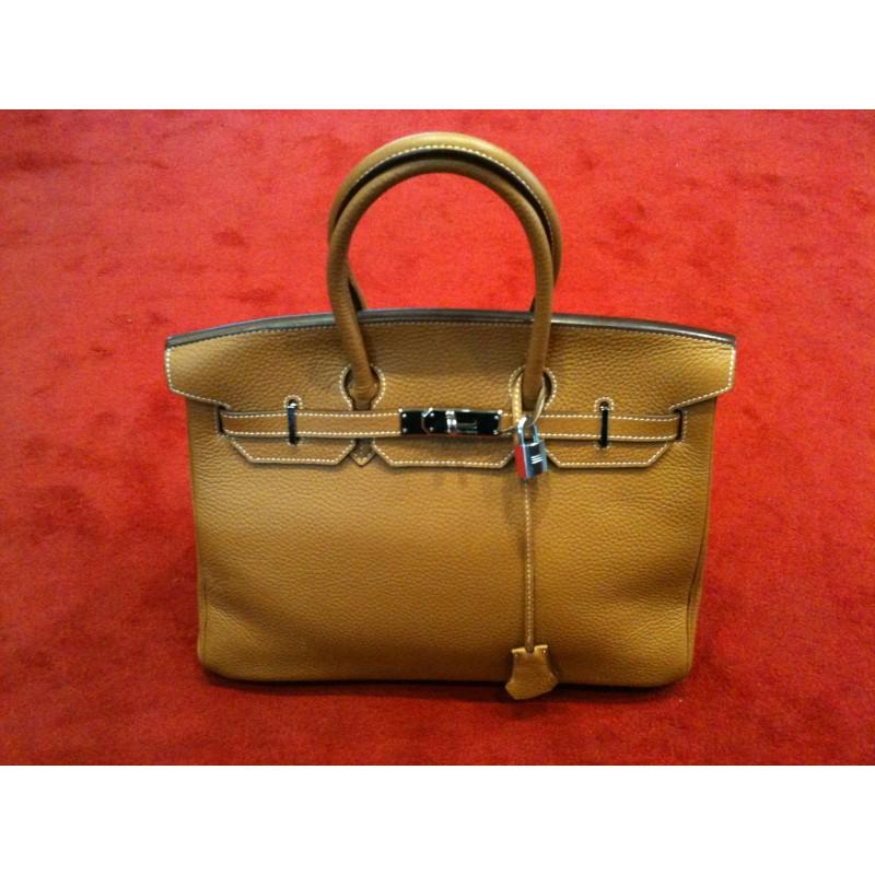 Sac Hermès Birkin 35 en cuir Gold