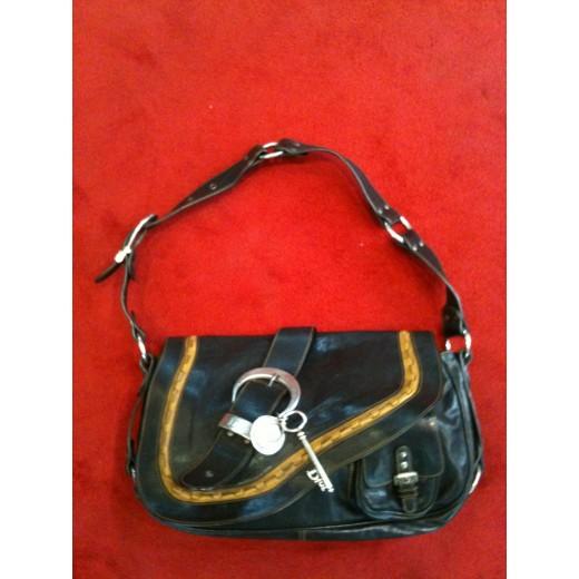 85a4d57726 Sac Christian Dior Gaucho en cuir noir