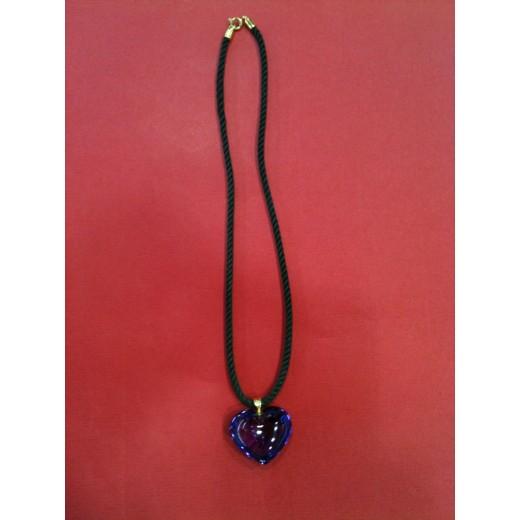 Pendentif Baccarat Coeur en cristal violet