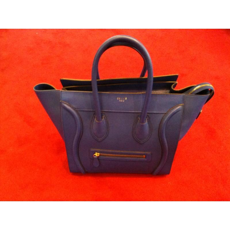 cuir Luggage modèle Céline en Sac mini bleu XZ51q7w