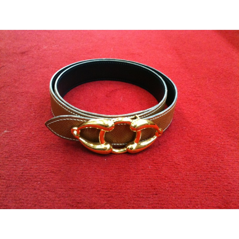 deb7fe15e7 Ceinture Hermès en cuir réversible gold/noir