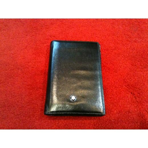 Porte cartes de visite montblanc meisterst ck en cuir noir - Porte carte de visite en cuir ...