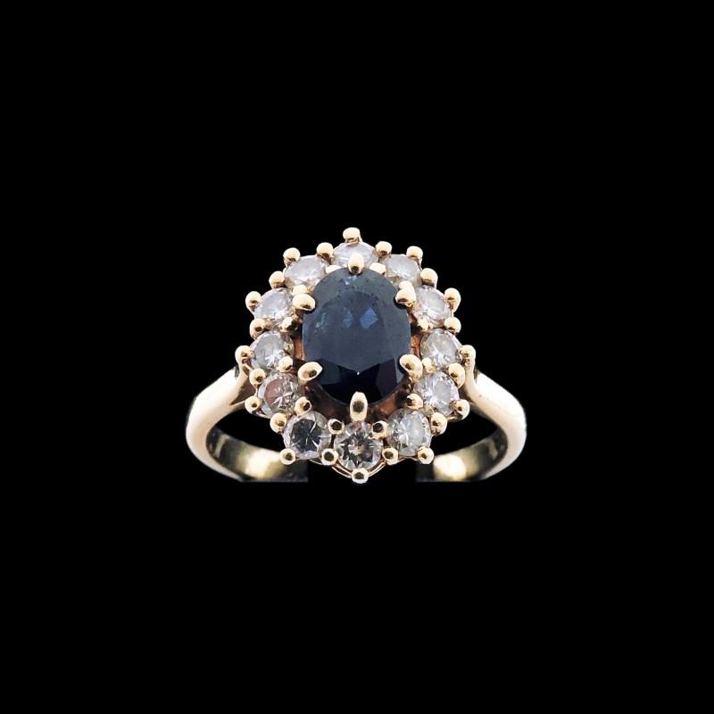 en soldes f09aa 2d1ac Bague marguerite saphir et diamants
