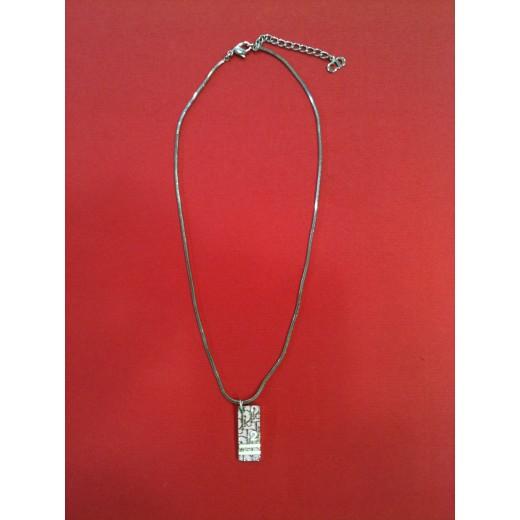 Collier Dior Logo rose en métal argenté