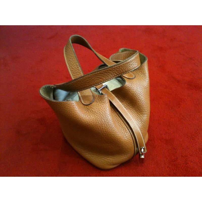 0347b8e252 Sac Hermès Picotin PM en cuir Taurillon Clémence Gold. Vendu