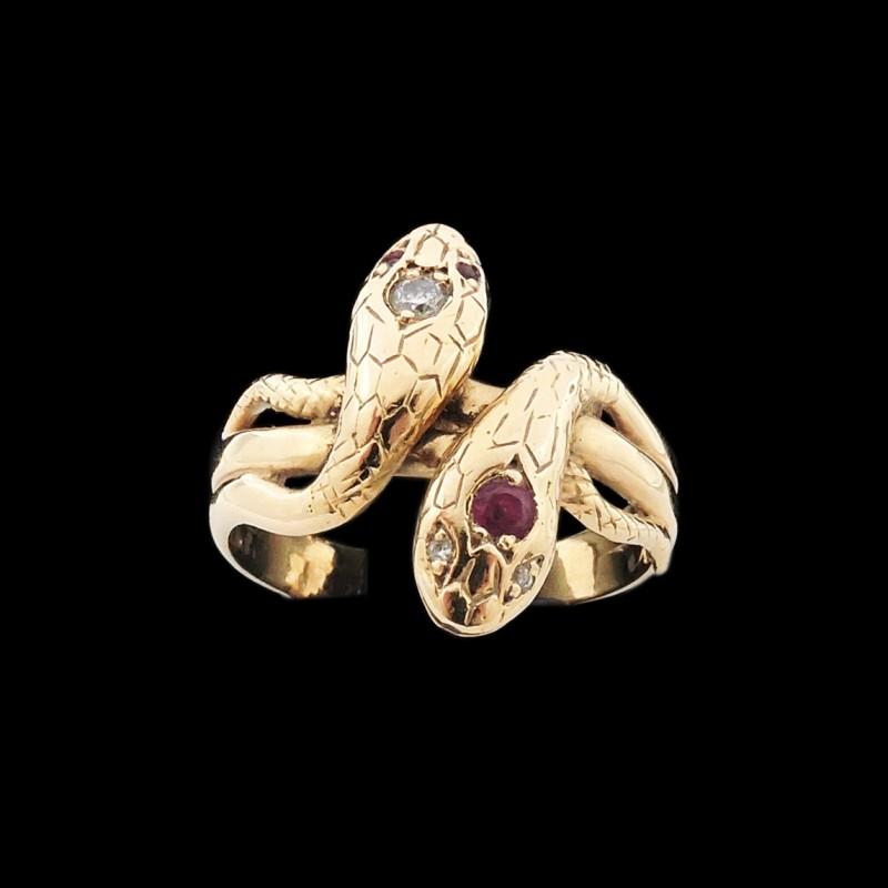 Bague Homme deux têtes de serpents rubis diamants