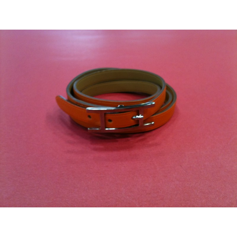 Bracelet Hermès Hapi 3MM en cuir orange. Vendu 8a6393c3366