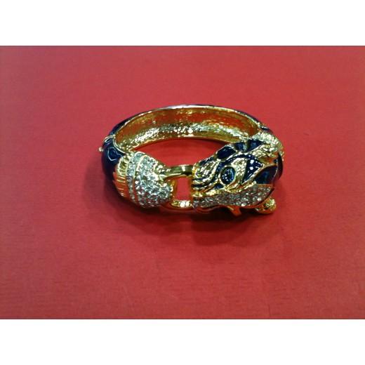 Bracelet Panthère en émail et plaqué or