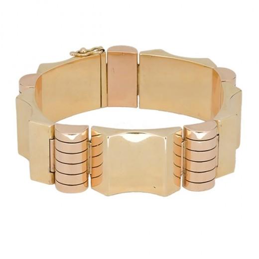 Bracelet tank deux tons d'or