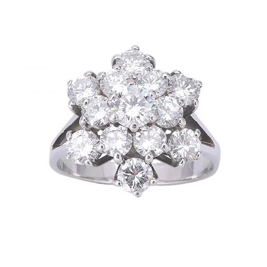 bague or diamant fleur