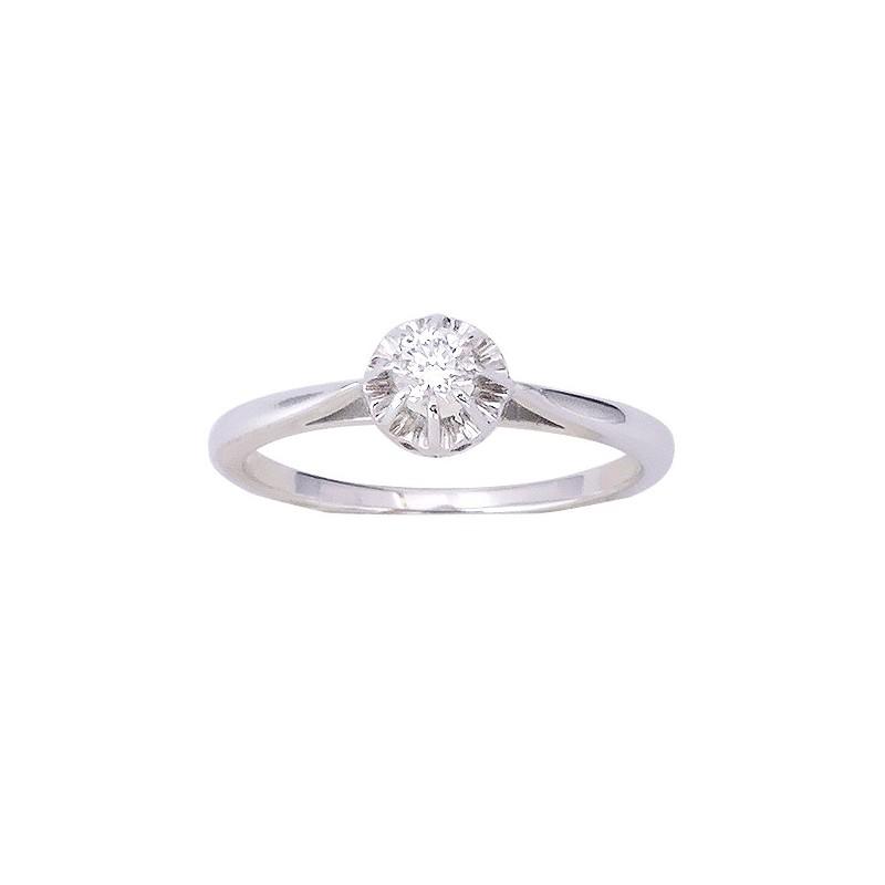 7b35bdea8c6 bague solitaire en or blanc 18 K et diamant. - Excellent -