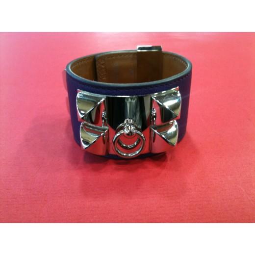 Bracelet Hermès Collier de chien en cuir violet