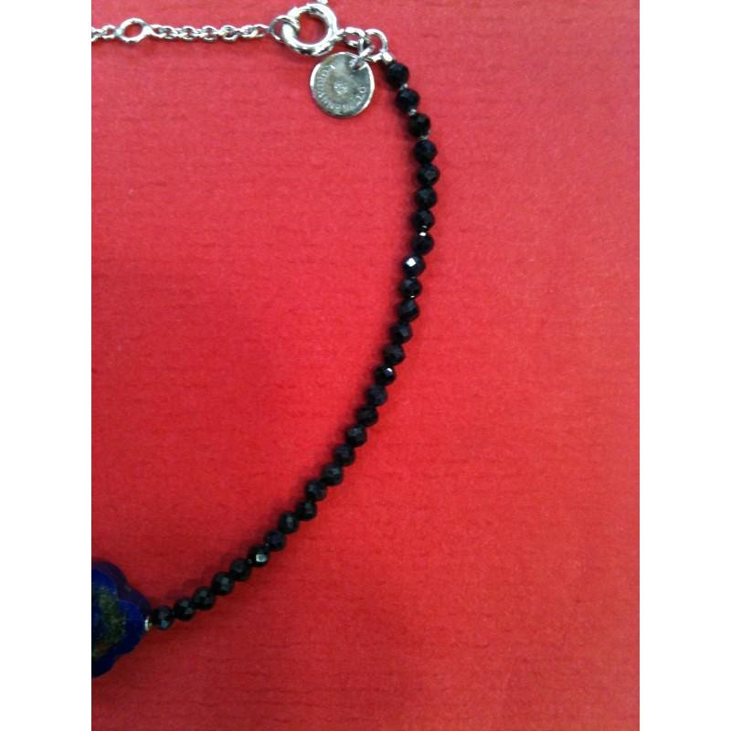 """ruban gris et cristaux Bracelet manchette /""""Bello/"""" Chaine dorée"""