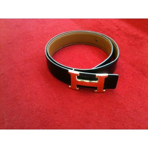Ceinture Hermès H en cuir réversible noir/gold