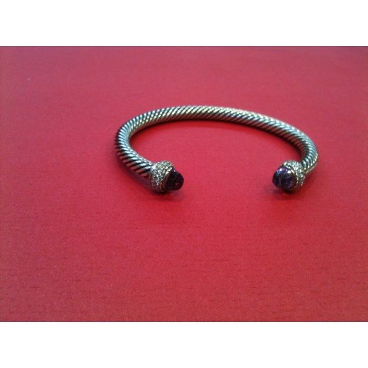 Bracelet David Yurman Câble en argent avec améthystes et diamants