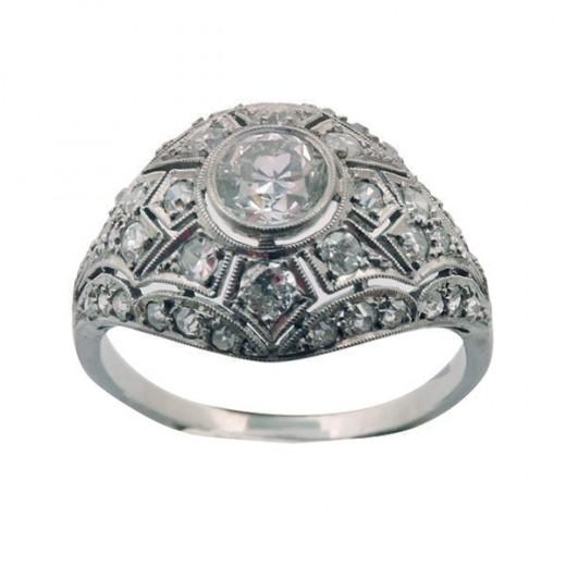 Bague ancienne en Platine Diamants Art Déco 3478eed931cc
