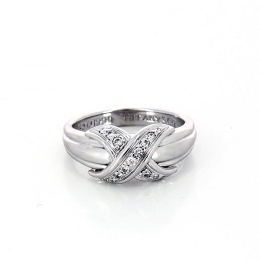 recherche de liquidation divers design nouveau concept Bague Tiffany diamants croisés X