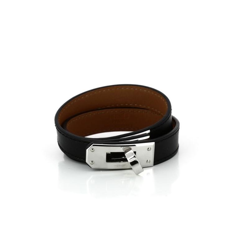 Bracelet Hermès Kelly Double tour en cuir noir. Vendu 282985a247a