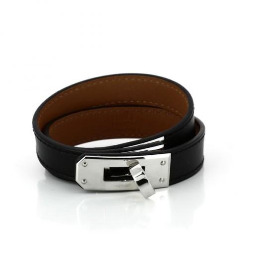 Bracelet Hermès Kelly Double tour en cuir noir ef1f416c15b