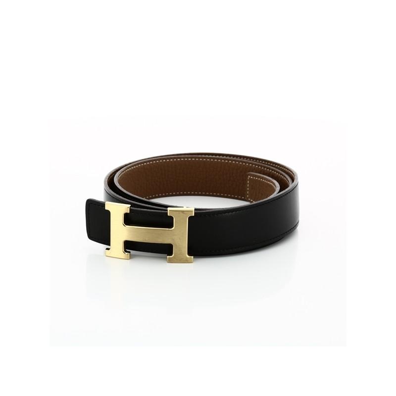 de06d8c6c12 Ceinture Hermès H en cuir noir  gold. Vendu