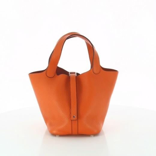 a9d049c0ac Sac Hermès Picotin PM en cuir orange