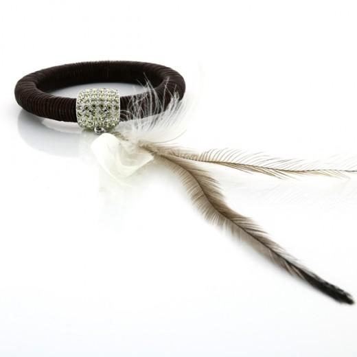 Bracelet Swarovski en cuir et plumes