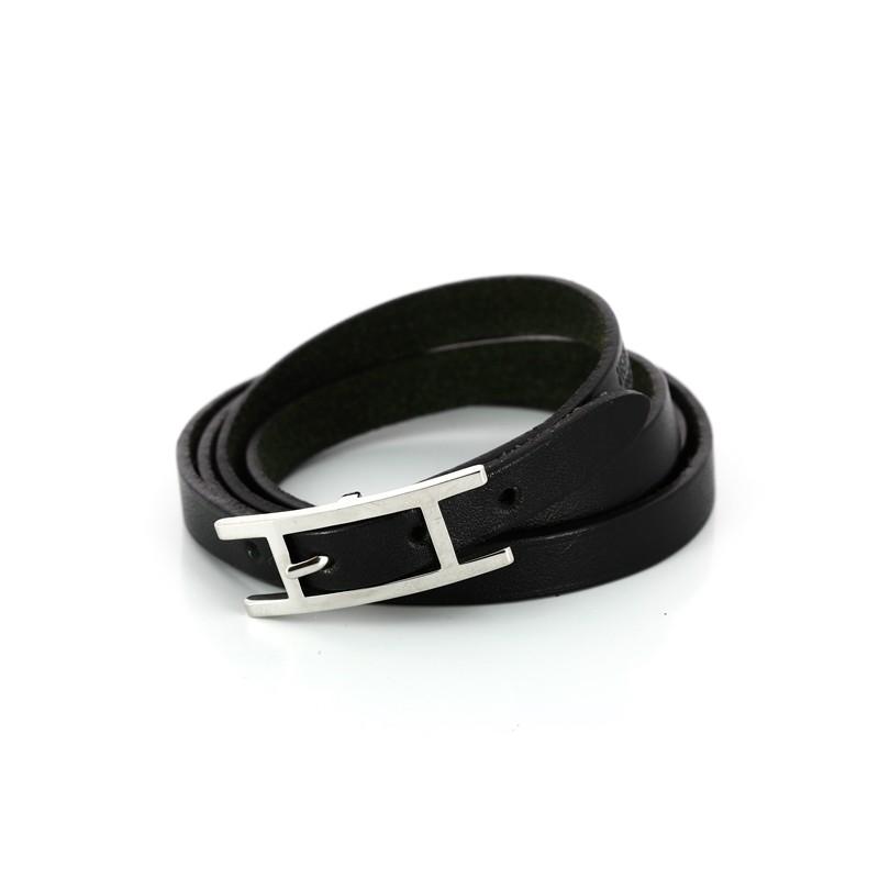Bracelet Hermès Hapi 3 MM en cuir noir. Vendu 1d24ec5299e