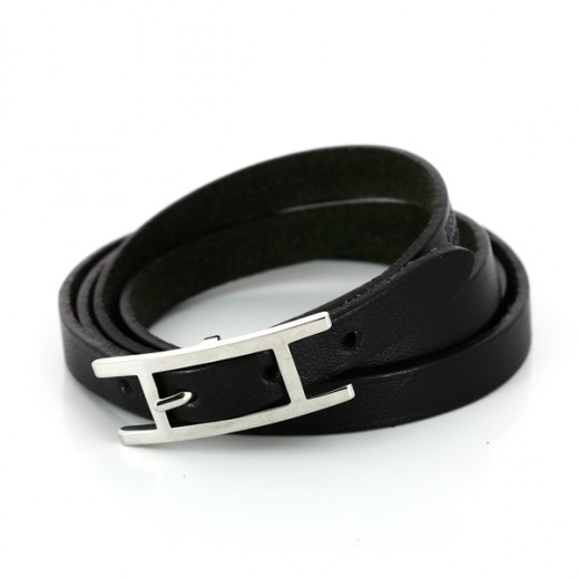 Bracelet Hermès Hapi 3 MM en cuir noir ac8f3e455be