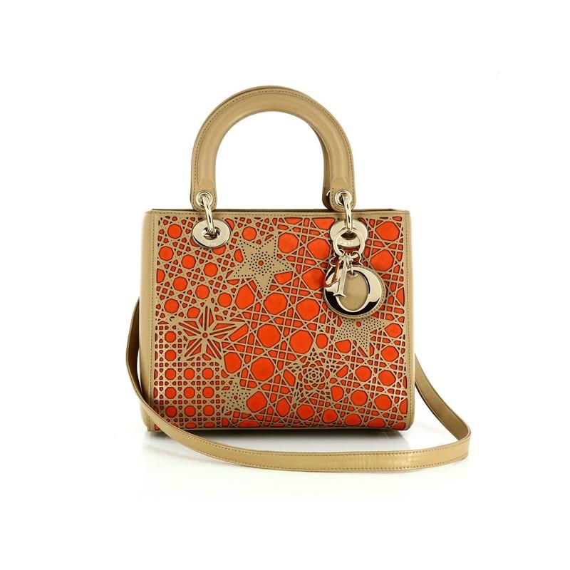 Sac Christian Dior Lady Dior Série limitée en cuir camel et orange 2f88bf502d2