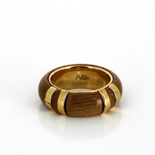 Bague Arthus Bertrand en plaqué or et bois
