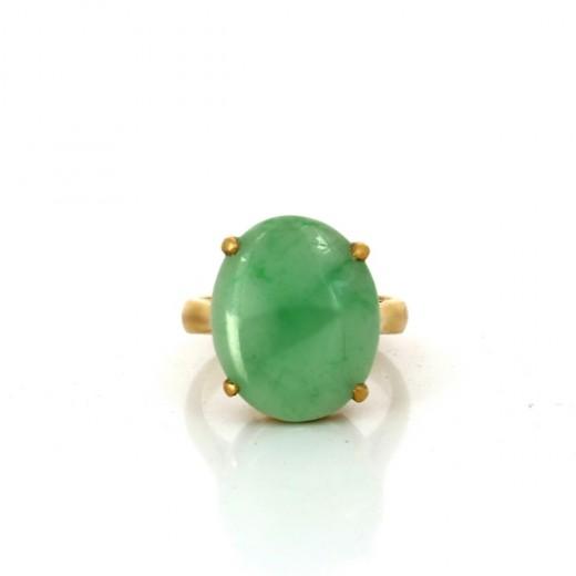 choisir authentique remise chaude vente moins chère Bague moderne en or jaune et jade