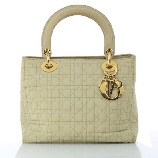 Sac Christian Dior Lady Dior MM en tissu beige