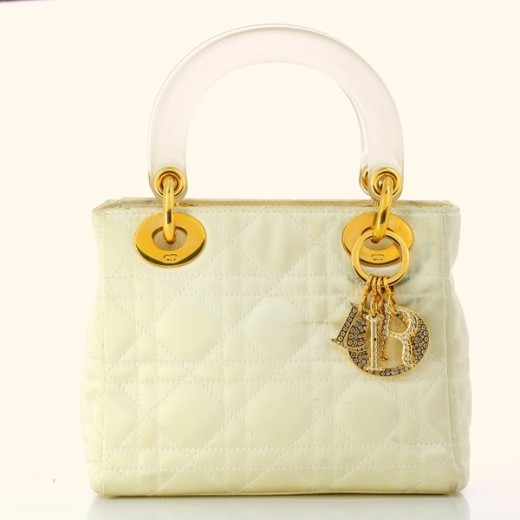 Mini sac Christian Dior Lady Dior en satin ivoire