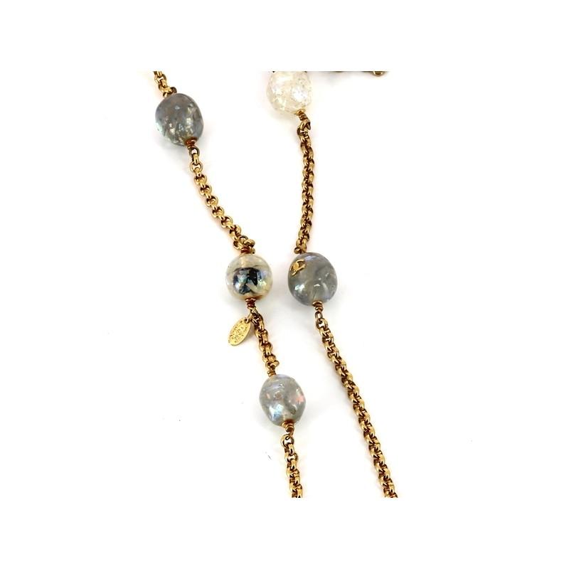 Sautoir Chanel Vintage en métal doré et perles. - Très bon état - 0418ba49ab8