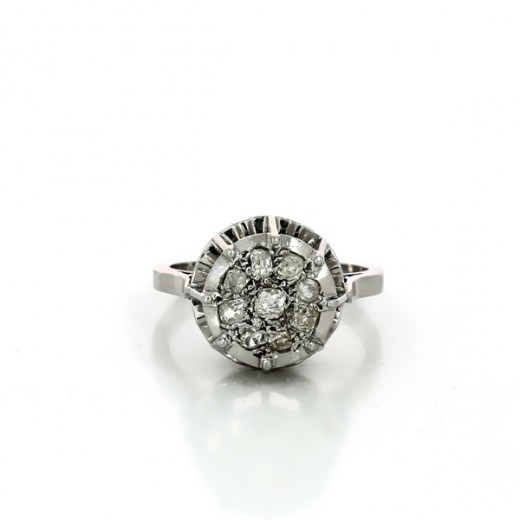 bague or blanc diamant style ancien