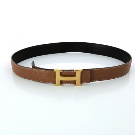 86612edb15 Ceinture Hermès H en cuir noir/ gold