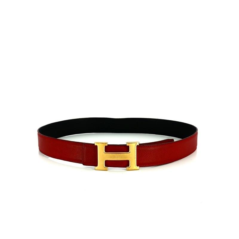 b02652e844 Ceinture Hermès H en cuir noir/ bordeaux. Vendu