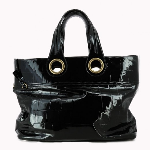 Sac Yves Saint Laurent en cuir vernis noir