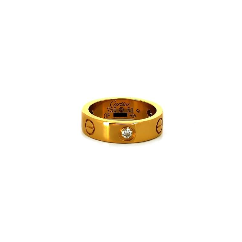 Bague Cartier Love 3 diamants en or jaune f7ec211d7d9